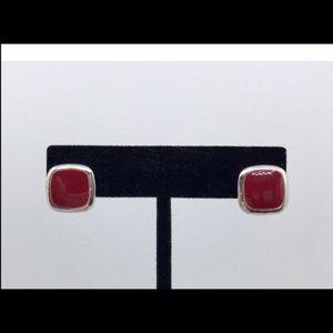 NWOT, Premier designs red enamel post earrings.